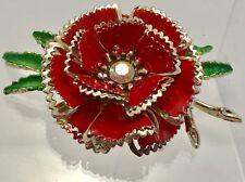 Vintage Retro Mod FLOWER POWER Daisies 60's Enamel Brooch Jewelry Pin Daisy Red