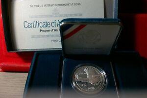 1994 P Prisoner of War POW 90% Silver Dollar Proof Vietnam War With Box and COA