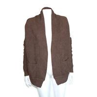 VINCE Yak Wool Walnut Brown Cascading Open Front Dolman Sweater size XS /8901