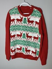 Ugly Christmas Tree Sweater Red White Size Large Santa Reindeer And Snowflakes