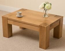 Kuba Chunky Solid Oak Wood Large Coffee Table Unit Wooden Living Room 90 X 40 X