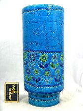"""Unusual Aldo Londi design Bitossi  """" Rimini blue """" pottery vase Italy V 16 / 25"""