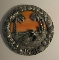 Micheal Ricker Pewter Plate 1981 Costal Christmas #315 Limted Edition COA