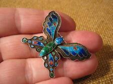 """███►alte Brosche """"Schmetterling""""/900er Silber mit Emaille -Russland"""