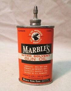VINTAGE MARBLES GUN OIL HANDY OILER TIN CAN OVAL SHAPE LEAD SPOUT AND CAP NICE!