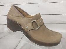 ARIAT Tan Leather Buckle Split Toe Nurse Clogs Weaved Women's US 7 B 94345