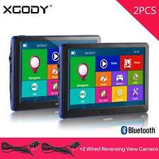 2x XGODY Sat Nav 7'' Truck Car Bluetooth GPS Navigation+Reverse Rearview Camera