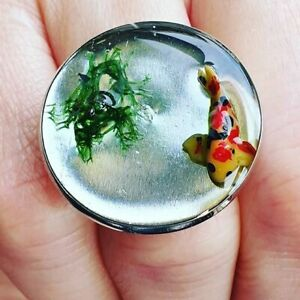 Unique THE KOI POND RING handmade RESIN adjustable FISH mini CUTE miniature