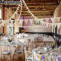 3M White Wedding Lace Flag Banner Burlap Wedding Party Banner Background Decor
