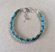 Chalcedony and London blue topaz bracelet, sterling silver