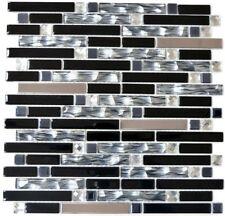Mosaïque carreau inox verre composite cristal noir cuisine 67-GV478_f |10plaques