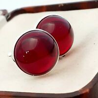 Vintage - Ruby Red Glass Cabochon - Large Round Silvertone Cufflinks