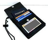 BLACK GENUINE LEATHER PASSPORT ID Holder Pouch Wallet Neck Strap Organizer
