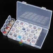 28 Lots Clear Craft Beads Jewellery Storage Organiser Compartment Tool Box Case