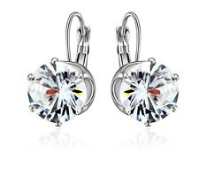 925 Sterling Silver with AAA 12 mm cubic zirconia earrings,wedding gift.