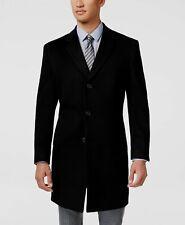 $538 Kenneth Cole Men Black Wool Overcoat Peacoat Coat Winter Jacket Size 44R