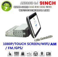 "9"" 1DIN Rotatable HD Car Stereo Radio Android 8.1 Quad-core RAM 2GB ROM+32GB GPS"