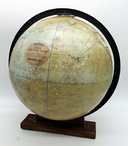"""ThriftCHI ~ Early 1930's World Globe Barowe 12"""" Hand-Made w Unique Wood Stand"""