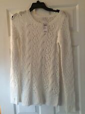NWT dEliA*s Knit Cream Poppy Pointelle Holiday Sweater Women's Size Small