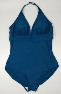 Figleaves Ocean Blue Tuscany Tummy Control Swimsuit Size UK 24 R