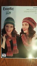 Naturally Knitting Pattern #N1314 Scarf & Hat to Knit in Crazy Days Yarn 12 Ply