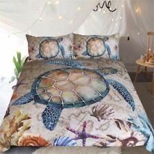 Home Textile Bed Cover Set Sea Turtle 3-Piece Marine Animal Microfiber Bedclothe