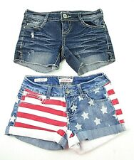 Women's Blue Jean Shorts Lot of 2 Size 0 Almost Famous & Hot Kiss USA Flag M