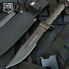 """10.5"""" Black Fixed Blade Tactical Combat Hunting Survival Knife w/ Sheath Bowie"""