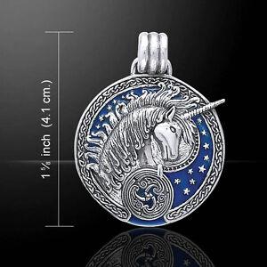 UNICORN pendant Celtic - 925 sterling silver  MARINE BLUE ENAMEL by Peter Stone