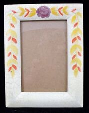 Hand Painted Antiqued Cream 4x6 Photo Frame E01