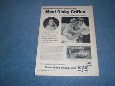 "1958 Mobile Gas Vintage Ad ""Meet Nicky Griffen..."" Economy Run Winner"