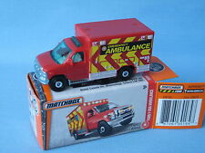 MATCHBOX FORD E-350 AMBULANCE medic Emergency Response rouge corps Toy 75 mm Boxed