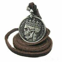 Herren Charme Silber Schädel Anhänger echten Legierung Leder Halskette Sell I9S6