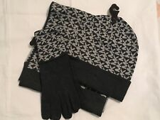 Michael Kors 3 Piece Hat, Gloves & Scarf Set, Fall 2017, Color: Black/Gray