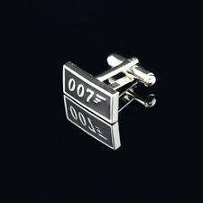 Silver Plated James Bond 007 Cufflinks Quality cuff links Rectangular + FREE Bag