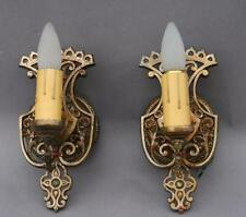 Pair 1920s Single Light Sconces Fits French StoryBook Cottage Tuscan (4242)