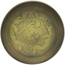 Scheier Ochre Pottery Low Bowl with Adam & Eve Decoration