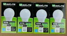 4 Bulbs LED 9W Cool White 4000K A19 60W Replacement Maxlite Dimmable Four Pack