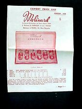 Genuine Orig 1958 Export Price List for MOLINARD CONCRETA PARFUME French Perfume