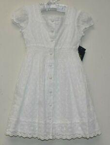 $185 NEW Polo Ralph Lauren Girls White EYELET Dress Button Down Cotton 6 X