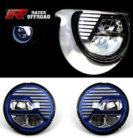 Rock Crawler Blue LED Headlight DRL+Hi+Lo Beam+Cree for 07-17 Jeep JK Wrangler