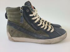 Diesel D-String Plus Leather High Top Sneakers Navy Blue/Olive Green Mens sz 11