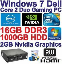 Windows 7, DELL, Core 2 Duo 2x3.00 Ghz Gaming PC Computer - 16GB DDR3 - 1 TB-HDMI