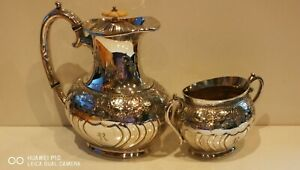 Atkin Brothers Silver plated Half Ribbed Chased Coffee pot sugar bowl