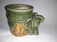 Vintage Ceramic Elephant Lucky Bamboo Foliage Plant Vase Holder Asian