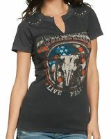 New AFFLICTION Women's Black Graphic Embellished Desert Ride S/S Tee Shirt Top