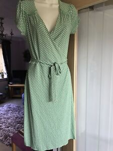 Boden Green Patterned Wrap around Dress Size 12R