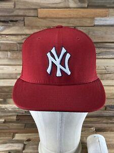 New Era 59fifty NY Yankees Hat Ball Cap Flat Bill Genuine Merchandise Red Size 7