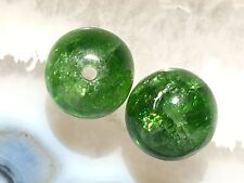 GRASS GREEN CHROME DIOPSIDE NATURAL GEMSTONE CRYSTAL 7mm ROUND BEAD PAIR