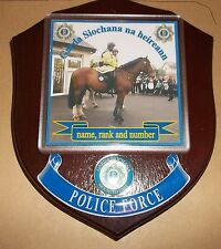 Irish Police/Garda Mounted Wall Plaque personalised free of charge.